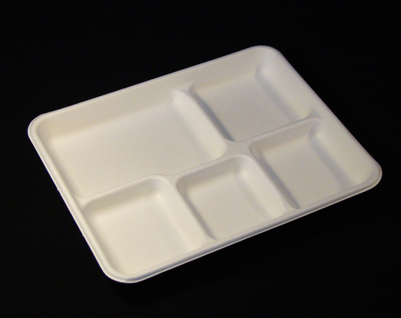 Bioselect 187 Bast 5 Section Bagasse School Tray